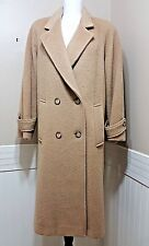 Vtg FORSTMANN by Karen Wool & Mohair TrenchCoat M/L Double Breasted Button Front