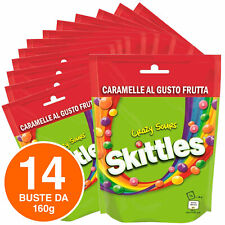 Skittles Crazy Sours Caramelle alla Frutta al Gusto Aspro Colorate - 14 Buste