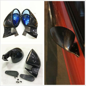 1 Pair Side Car Rear View Plane Mirrors F1 Style Universal Carbon Fiber Color