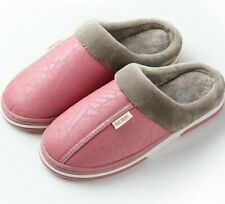 Women Winter Plush Slippers Non Slip Indoor Leather Flats Sandals Home Accessory