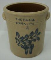 Pfaltzgraff Mini #4 Pottery Crock with Salt Glaze & Cobalt Design 2004 Edition