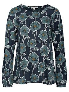 Seasalt blouse top size 8 10 navy green retro bloom nettle raven bell boat