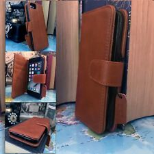 iPhone 7 Real Leather Wallet Ferrari Italian Cognac Tan Brown  Folio Book Case