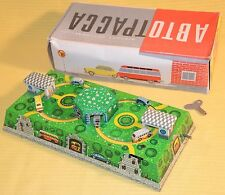 1950's RUSSIAN TIN LITHO CARS & BUSES TRACK WIND-UP TOY ~ MINT IN BOX with KEY