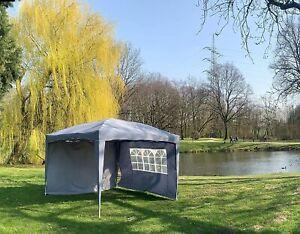 Faltpavillon 3x4m Klappzelt Gartenzelt Faltbar Wasserdicht +2-Seitenteile Grau