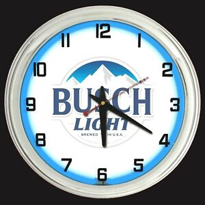 """16"""" Busch Light Beer Sign Blue Neon Clock Man Cave Garage Bar"""