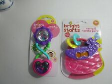 2 BRIGHT STARTS Teethe Purse & Rattle & Shake Barbell 3 Months + NEW