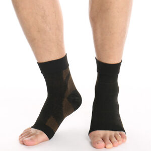 Copper Sleeve Compression Socks Plantar Fasciitis Foot Arch Ankle Support Brace