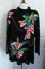 Vintage LISA NICHOLS Ugly Christmas Sweater Holly & Ribbons Gold Beads ~ Large