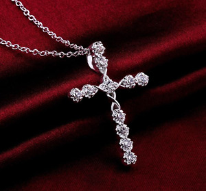 Crystal Cross Necklace 925 Sterling Silver Plate Pendant Jesus Chain Ladies New