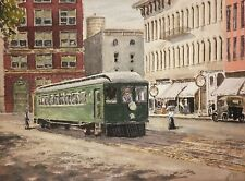 Original STREETCAR TROLLEY Signed Watercolor Illustration Painting
