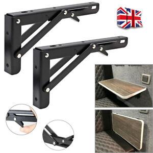 2X Campervan Folding Bracket Table Shelf Motorhome Caravan Black Finish UK