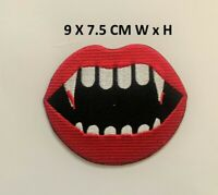 Vampire Red Lipstic Embroidered Iron on Sew On Patch Badge Biker Rocker N-97