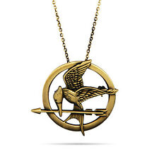 The Hunger Games Catching Fire Logo Mockingjay Copper Pendant Necklace Vintage
