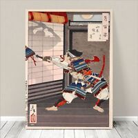"Traditional Japanese SAMURAI Warrior Art CANVAS PRINT 24x18""~ Fight #008"