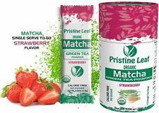 Organic Matcha Green Tea Powder | Strawberry Flavored | No Sugar | Single Packs