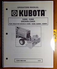 Kubota G2500 G2505 Snowblower for G3200 G4200 G4200H G5200H Operator Manual