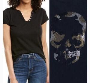 Zadig & Voltaire Tunisien MC Skull Camo Top Tee Studded Embellished Sz M