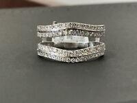 14k White Gold Fn Split Shank Solitaire Enhancer Diamonds Ring Guard Wrap