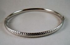 100% Genuine Vintage 9k Solid White Gold Hollow Oval Hinged Bangle