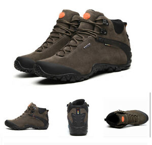 Unisex Outdoor Hiking Suede Shoes Waterproof Climbing Sneakers Ankle Boots UK13