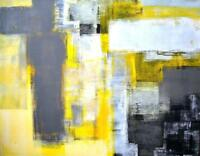 "Yellow &Grey  Abstract Art PICTURE CANVAS WALL ART ""20X30"""