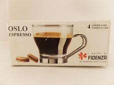 FIDENZA OSLO ESPRESSO COFFEE SET 4 CUPS FINE ITALIAN GLASS MADE IN ITALY
