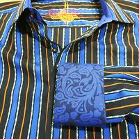 ROBERT GRAHAM Men's L Flip Cuff Button Down Shirt Striped Blue Black Paisley