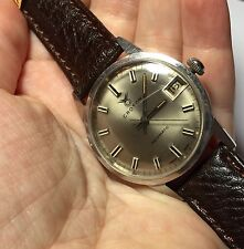 Vintage Croton Aquamatic Swiss Men's Watch New Dark Brown Leather Band Runs!