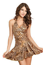 Sexy Neck Holder Latino kleid Salas Leopard Mini Dress Optic Leo Gold