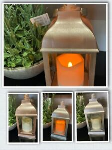 Lantern with flickering LED candle Metallic Rose Gold or Silver