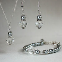 Light grey crystal pearl necklace bracelet earrings wedding bridesmaid gift set