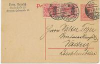 DT.REICH 1920 Kriegsbeschädigtenhilfe 10+5 Pf (2x) Zusatzfrankatur LIECHTENSTEIN