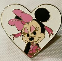 Disney Minnie Mouse With Pink Hair Bow Heart Shaped White Glitter Filled Pin