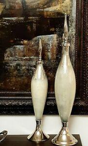 Set Interlude Home Coit Cream Bottles in Cream & Mercury Glass & Polished Nickel