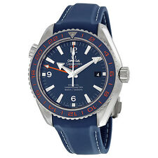 Omega Seamaster Planet Ocean Blue Dial Leather Mens Watch 23232442203001