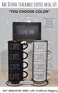 """Rae Dunn Coffee Mug Set (4) Stackable with Wire Rack """"YOU CHOOSE COLOR"""" NEW '20"""