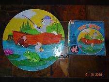 "Vintage Whitman 1972 TOM & JERRY Fishing Jigsaw 125pcs Puzzle 20"" Round"