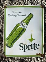 VINTAGE SPRITE SOFT DRINK PORCELAIN METAL SIGN USA OIL LUBE SODA POP GAS STATION
