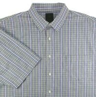 F/X Fusion Mens Short Sleeve Shirt Size 3XLT Black White Blue Plaid Cotton Blend