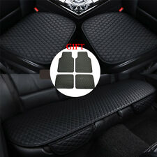 Full Surrounded Pu Leather Car Seat Covers & Car Floor Mats Front+Rear Universal