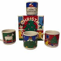 Vintage 1983 Houze Christmas Coffee Cup Mugs Set 4 Alan Wood Design Reindeer