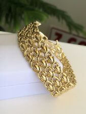 Stunning Classy Lovely smooth Flexible  18KY Gold Ladies bracelet Italian Made