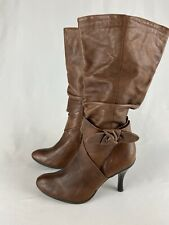 Gianni Bini Tease Tall Slouch Boots Heel Brown Tan Leather Nutty Size 6 Womens