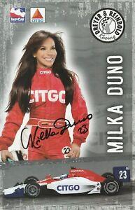 2008 MILKA DUNO signed INDIANAPOLIS 500 HERO PHOTO CARD INDY CAR CITGO HONDA tb