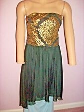 As U Wish Strapless Gold Bodice Sequin Dress Black Chiffon Filmy Skirt- Medium