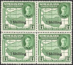 SOMALILAND-1951 1/- on 1r Green Block of 4 Sg 132 UNMOUNTED MINT V42927
