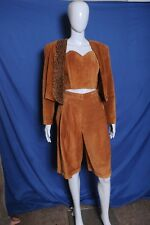 Vtg '80s Danier suede waist jacket strapless top and high waist long short set