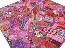 Handmade Patchwork Pink Vintage Sari Quilt Double Bed cover India Bedspread Boho