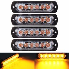 4pcs 3W Super Bright Amber 6-LED Car Flash Emergency Hazard Warning Strobe Light